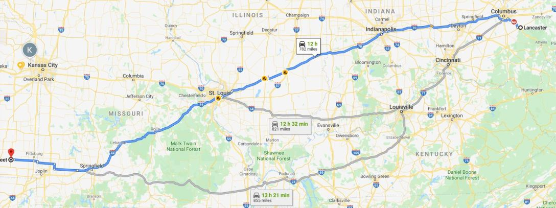Route map to Lancaster Ohio from Kansas City for Days of Knight