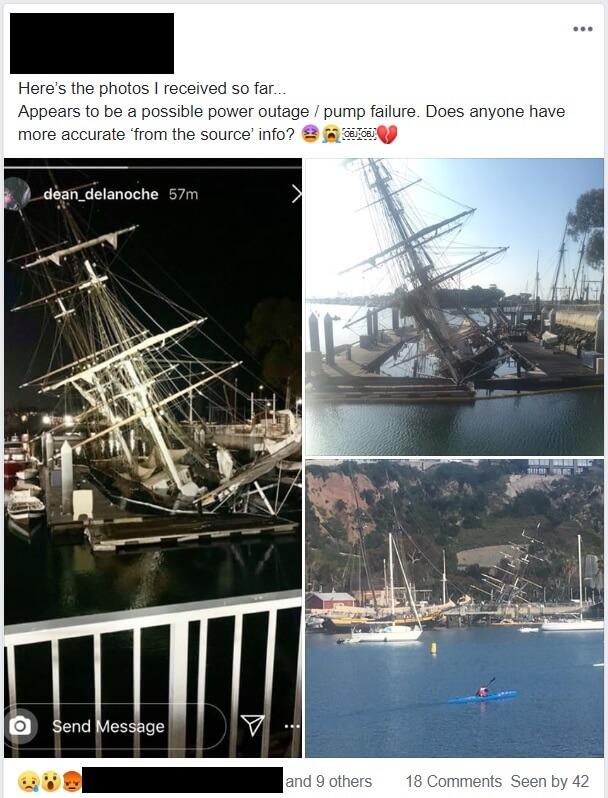 Facebook Post of Brig Pilgrim Sunk in her Moors