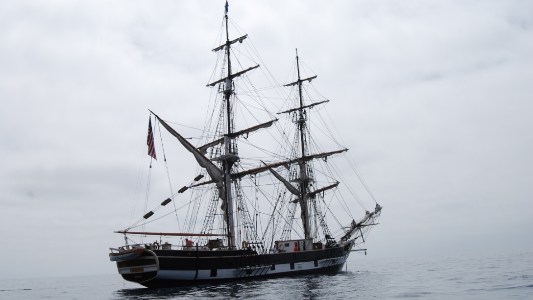 Pilgrim from the stern at anchor in Catalina